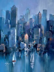 Blue Towers II by Wilfred -  sized 34x46 inches. Available from Whitewall Galleries